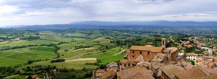 Vista della valle di d'Orcia di Val Montepulciano Fotografia Stock