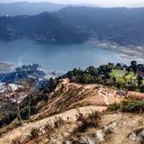 Vista della valle di Pokhara Immagini Stock