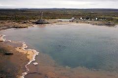 Vista della valle Haukadalur, Islanda fotografie stock libere da diritti