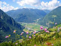 Vista della valle \ Tauferer Ahrntal \ Fotografie Stock Libere da Diritti