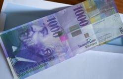 Vista della valuta dei franchi svizzeri sul bollettino Fotografia Stock Libera da Diritti