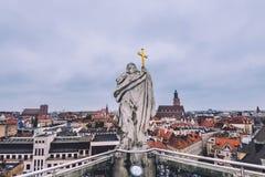 Vista della vecchia città di Wroclaw alta Fotografia Stock Libera da Diritti