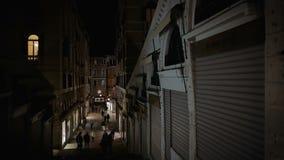 Vista della via con il ponte di realto a Venezia alla notte stock footage
