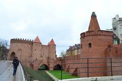 Vista della via del barbacane di Varsavia a Varsavia, Polonia Immagine Stock
