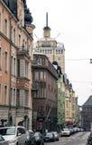 Vista della via della città di Helsinki Fotografia Stock