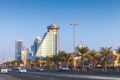 Vista della via della città di Manama, capitale del regno del Bahrain Fotografia Stock Libera da Diritti