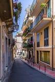 Vista della via della città di Taormina - Taormina, Sicilia, Italia Fotografia Stock Libera da Diritti