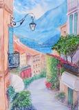 Vista della via della cittadina a Bellagio, lago Como Italia Fotografie Stock Libere da Diritti