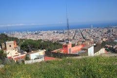 Vista della via della Spagna Barcellona Immagini Stock Libere da Diritti