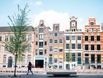Vista della via di Amsterdam Fotografia Stock Libera da Diritti