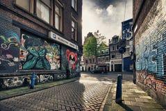 Vista della via di Amsterdam Immagine Stock Libera da Diritti