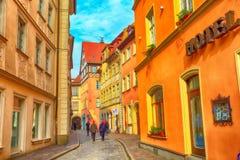 Vista della via di Bamberga della città storica in Germania Immagini Stock