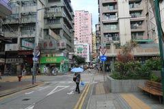 Vista della via di Mong Kok in Hong Kong Fotografia Stock