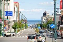 Vista della via di Otaru Immagini Stock