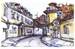 Vista della via di Praga Fotografia Stock