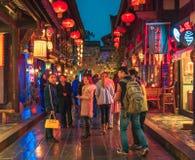 Vista della via di scena di notte della città antica di Jinli a Chengdu immagine stock