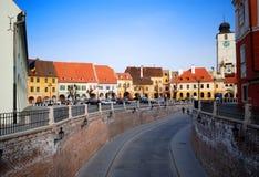 Vista della via di Sibiu Immagini Stock Libere da Diritti