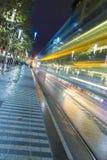 Vista della via di Swanston a Melbourne alla notte Fotografia Stock Libera da Diritti