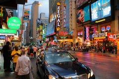 Vista della via di Time Square, New York, U.S.A., America settentrionale Fotografia Stock Libera da Diritti