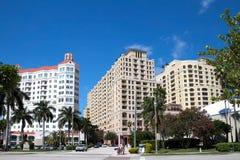 Vista della via di West Palm Beach del centro, Florida, U.S.A. Fotografie Stock