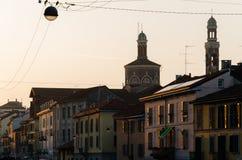 Vista della via grande di Naviglio al tramonto Fotografie Stock