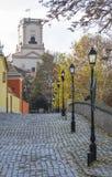 Vista della via in Gyor Fotografie Stock Libere da Diritti