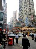 Vista della via in Hong Kong Fotografia Stock