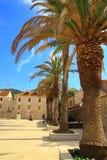 Vista della via nella città del laureato di Stari, isola Hvar, Croazia Fotografie Stock