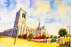 Vista della via, Notre Dame, famosa a Parigi Francia Fotografie Stock Libere da Diritti