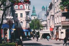 Vista della via principale di Ternopil Fotografia Stock Libera da Diritti