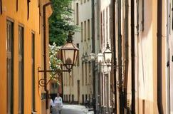 Vista della via a Stoccolma, Svezia Fotografia Stock Libera da Diritti