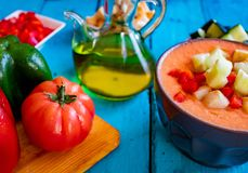 Vista della zuppa di verdure fredda, un pasto spagnolo tipico fotografie stock
