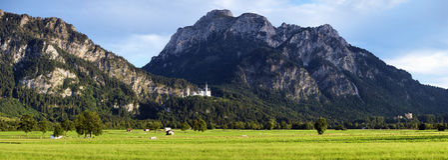 Vista delle alpi bavaresi con il castello di Neuschwanstein Immagine Stock