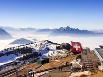 Vista delle alpi dalla cima di Rigi Kulm Immagine Stock
