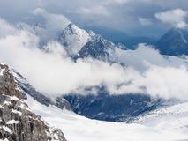 Vista delle alpi dalla piattaforma di Zugspitze, Garmisch-Partenkirchen, Baviera, Germania Immagini Stock Libere da Diritti