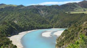 Vista delle alpi del sud Nuova Zelanda Immagini Stock