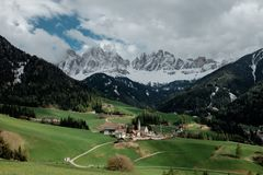 Vista delle alpi della dolomia nel Nord dell'Italia Fotografia Stock Libera da Diritti