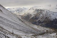 Vista delle alpi francesi nevose Fotografie Stock
