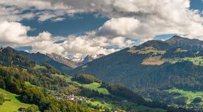 vista delle alpi svizzere vicino a Klosters Fotografia Stock