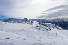 Vista delle alpi in valle di Zillertall, Austria Fotografie Stock Libere da Diritti