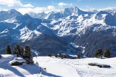 Vista delle alpi in valle di Zillertall, Austria Fotografie Stock