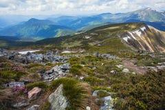 Vista delle alte montagne con le rocce sulla priorità alta Immagini Stock