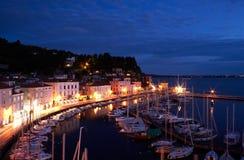 Vista delle barche al tramonto Immagine Stock Libera da Diritti