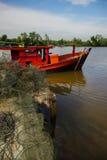 Vista delle barche in Bachok Kelantan Malesia Fotografia Stock Libera da Diritti