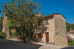 Vista delle case con il grande sole dell'albero di mattina a Figanières Immagini Stock