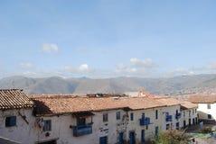 Vista delle case in San Blas, Cuzco, Perù Fotografie Stock Libere da Diritti