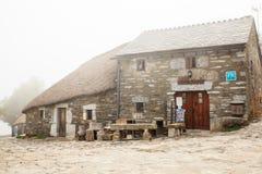 Vista delle case tipiche di Cebreiro, Spagna Fotografia Stock
