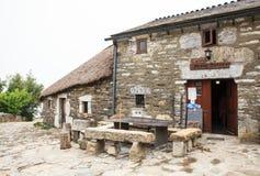 Vista delle case tipiche di Cebreiro, Spagna Immagine Stock
