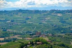 Vista delle colline di Langhe con il castello di Grinzane Cavour immagini stock libere da diritti
