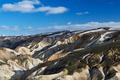 Vista delle colline variopinte di Landmannalaugar da sopra, l'Islanda Immagini Stock